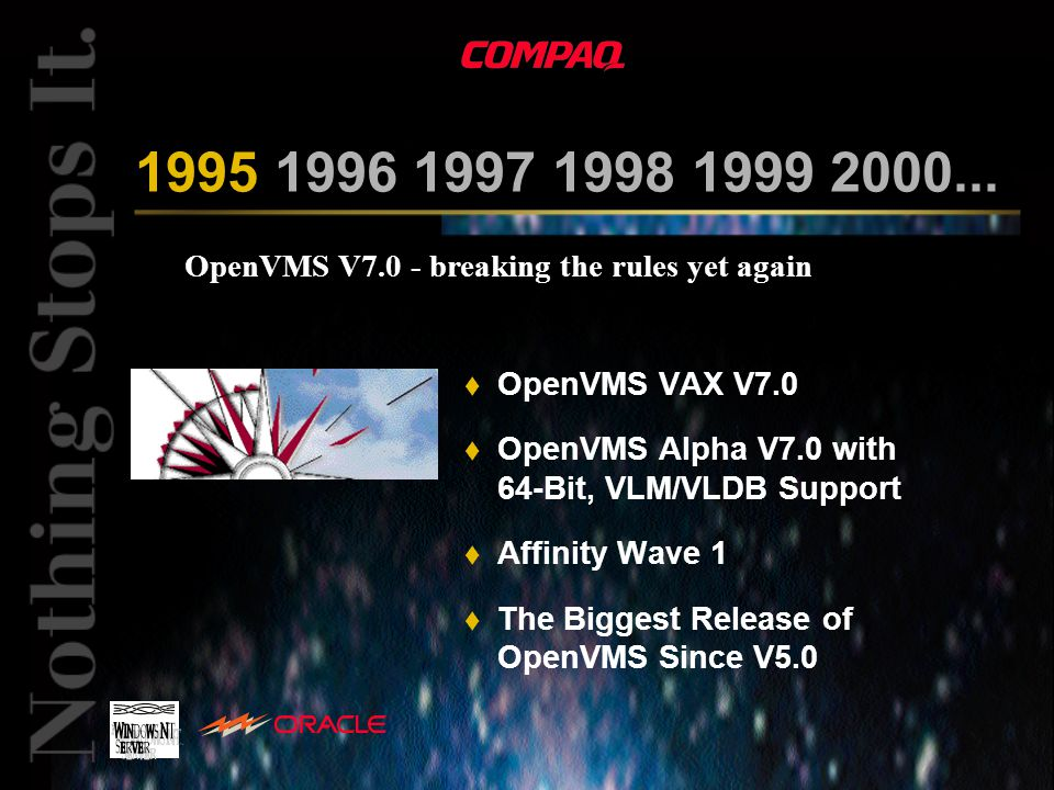 OpenVMS V7.0 - breaking the rules yet again 1995 1996 1997 1998 1999 2000... t OpenVMS VAX V7.0 t OpenVMS Alpha V7.0 with 64-Bit, VLM/VLDB Support t A