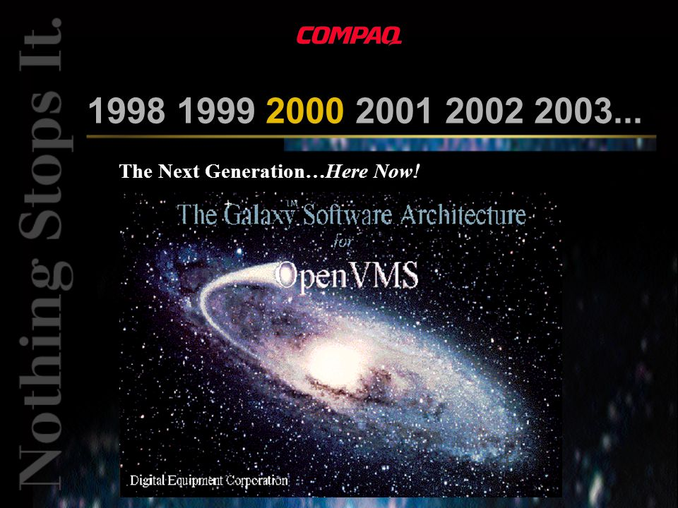 1998 1999 2000 2001 2002 2003... The Next Generation…Here Now.