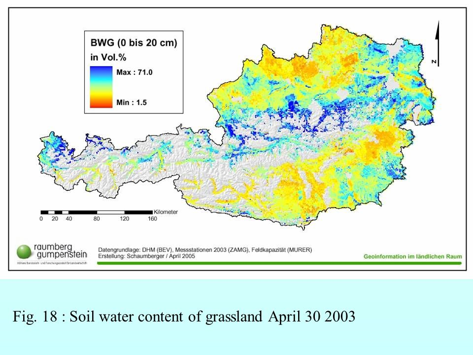Fig. 18 : Soil water content of grassland April 30 2003