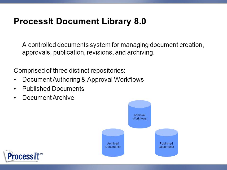 ProcessIt Document Library 8.0 A controlled documents system for managing document creation, approvals, publication, revisions, and archiving.