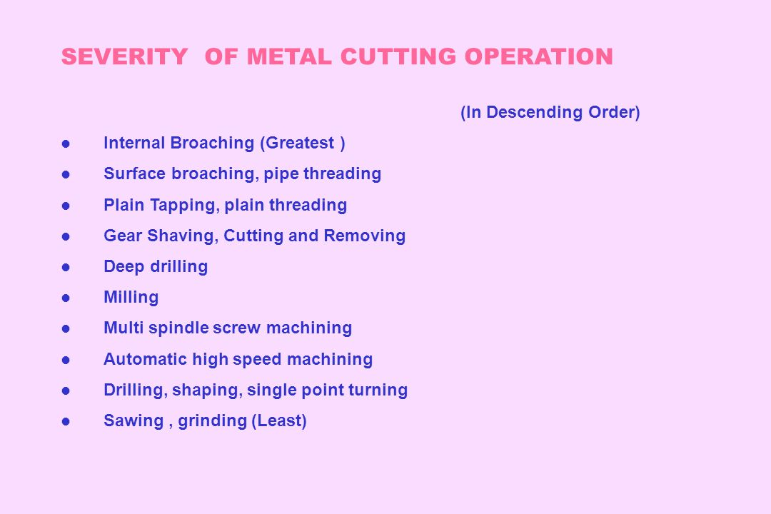 SEVERITY OF METAL CUTTING OPERATION (In Descending Order) l Internal Broaching (Greatest ) l Surface broaching, pipe threading l Plain Tapping, plain