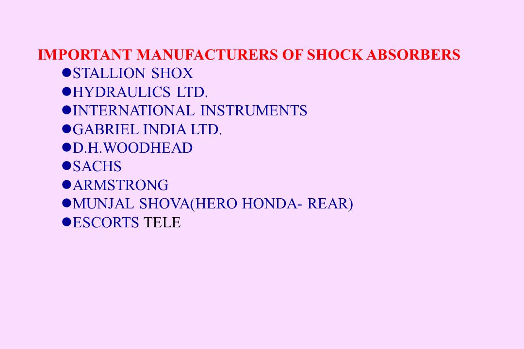 IMPORTANT MANUFACTURERS OF SHOCK ABSORBERS STALLION SHOX HYDRAULICS LTD. INTERNATIONAL INSTRUMENTS GABRIEL INDIA LTD. D.H.WOODHEAD SACHS ARMSTRONG MUN