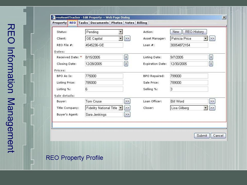 REO Information Management REO Property Profile