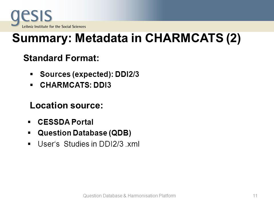 Question Database & Harmonisation Platform11 Summary: Metadata in CHARMCATS (2) Standard Format:  Sources (expected): DDI2/3  CHARMCATS: DDI3 Locati