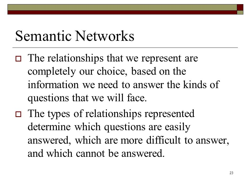23 Semantic Networks  The relationships that we represent are completely our choice, based on the information we need to answer the kinds of questions that we will face.
