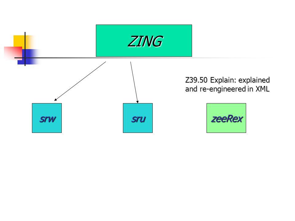 ZING srwsruzeeRex Z39.50 Explain: explained and re-engineered in XML