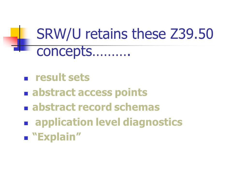 SRW/U retains these Z39.50 concepts……….