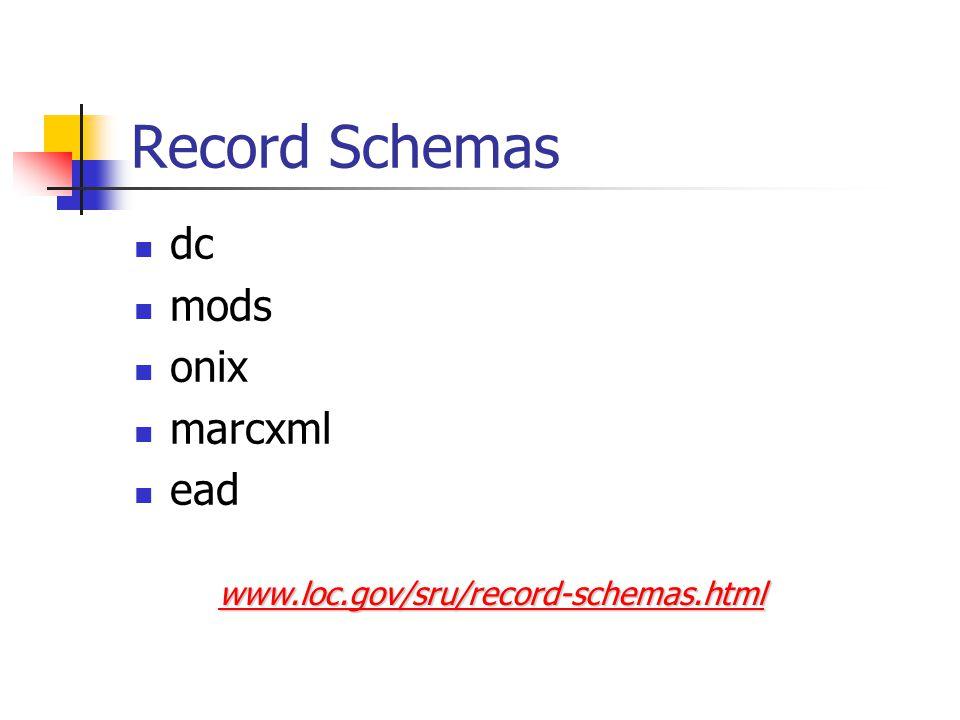 Record Schemas dc mods onix marcxml ead www.loc.gov/sru/record-schemas.html