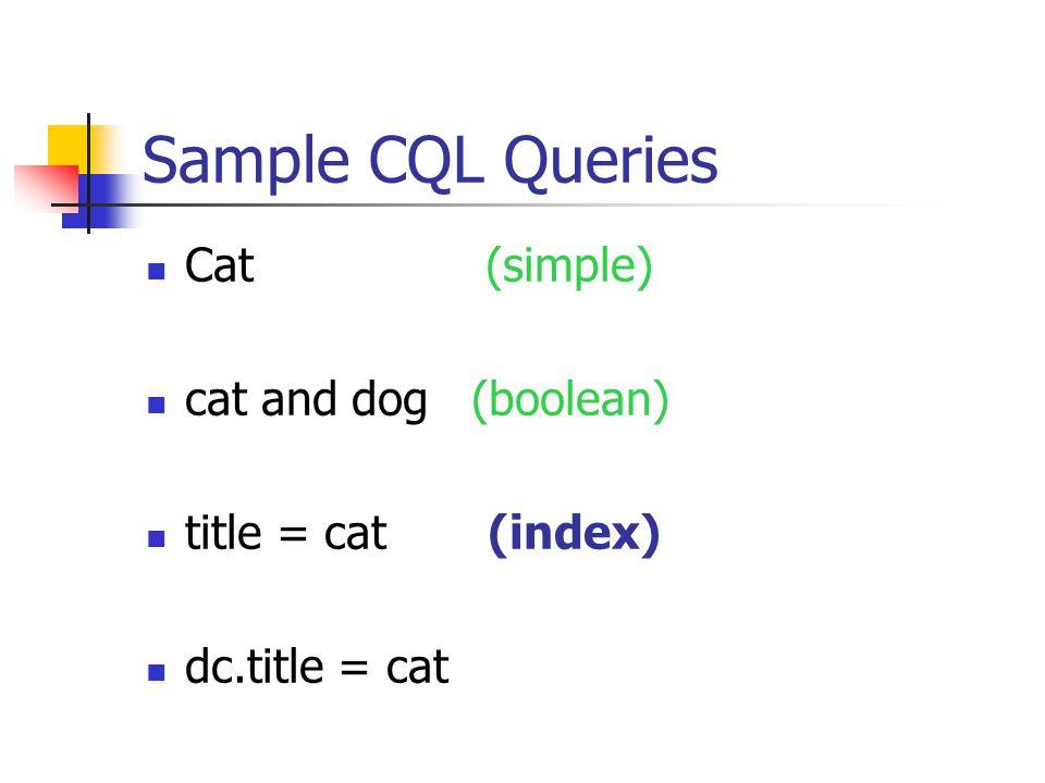 Sample CQL Queries Cat (simple) cat and dog (boolean) title = cat (index) dc.title = cat