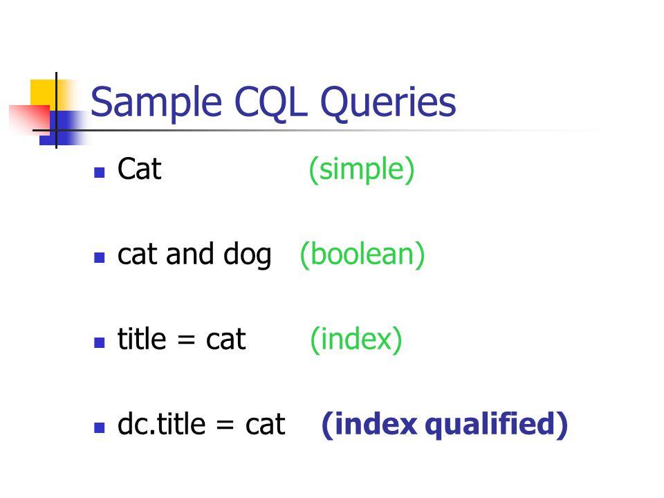 Sample CQL Queries Cat (simple) cat and dog (boolean) title = cat (index) dc.title = cat (index qualified)