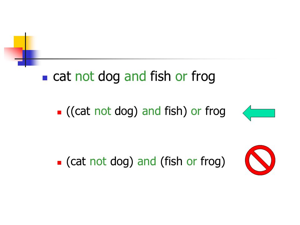 ((cat not dog) and fish) or frog (cat not dog) and (fish or frog)
