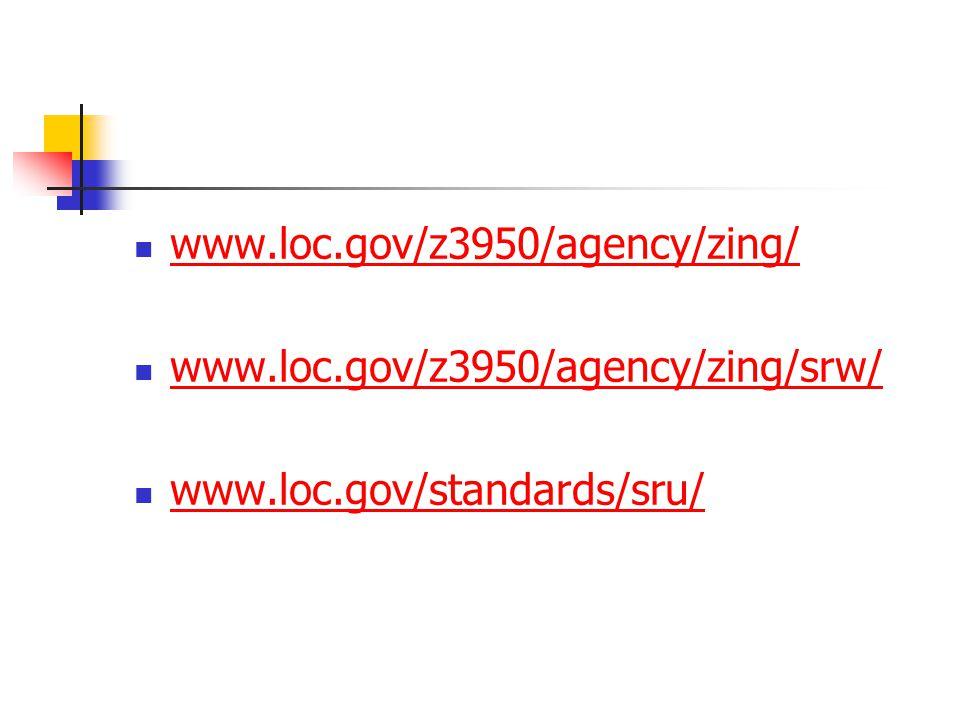 www.loc.gov/z3950/agency/zing/ www.loc.gov/z3950/agency/zing/srw/ www.loc.gov/standards/sru/