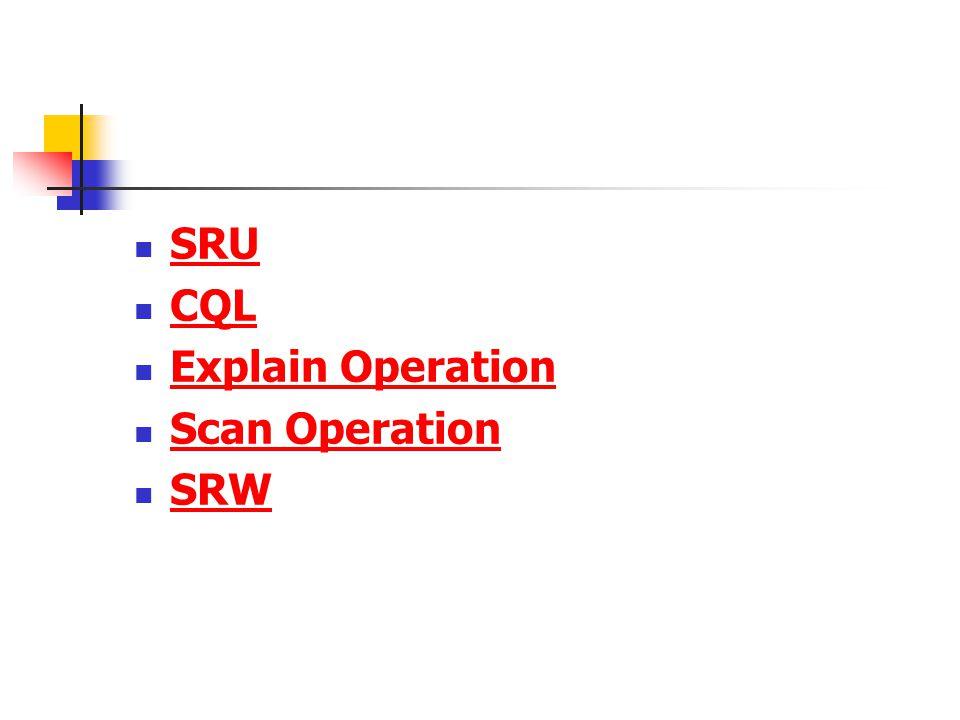 SRU CQL Explain Operation Scan Operation SRW