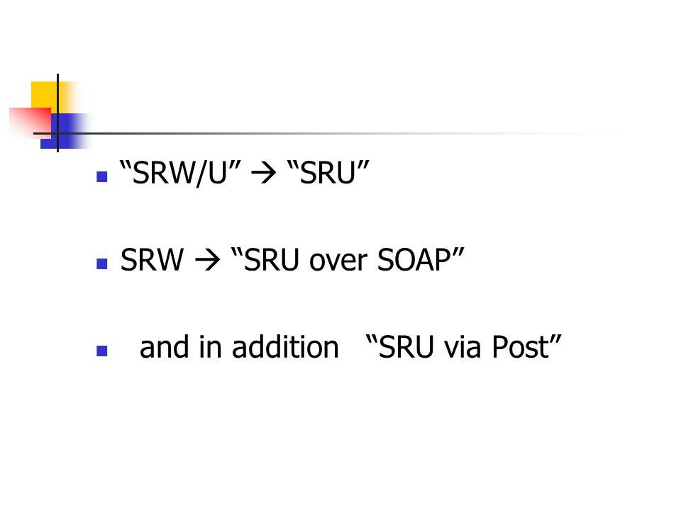 SRW/U  SRU SRW  SRU over SOAP and in addition SRU via Post