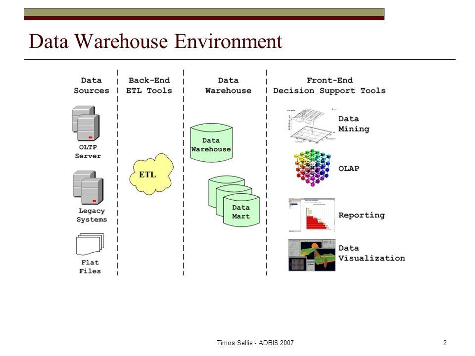 Timos Sellis - ADBIS 20072 Data Warehouse Environment