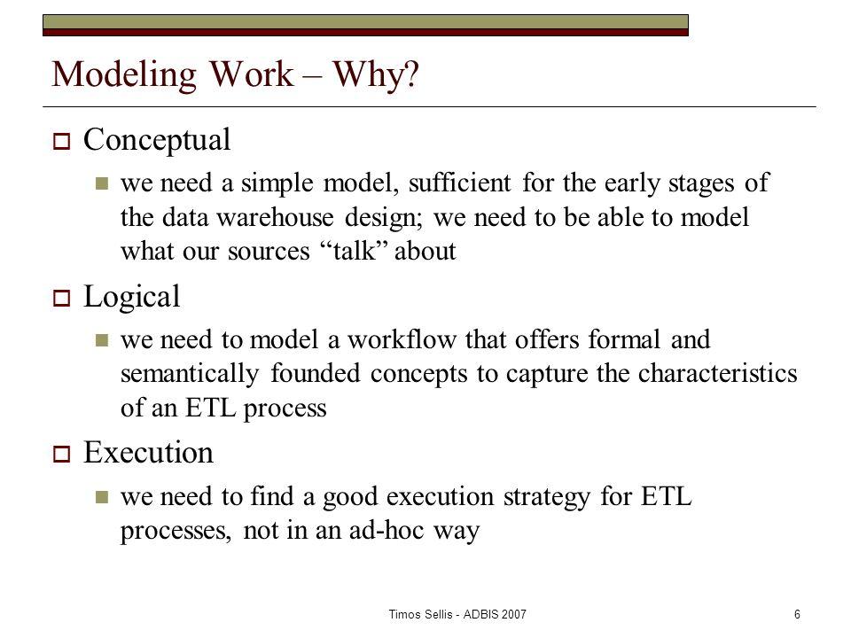 Timos Sellis - ADBIS 20076 Modeling Work – Why.