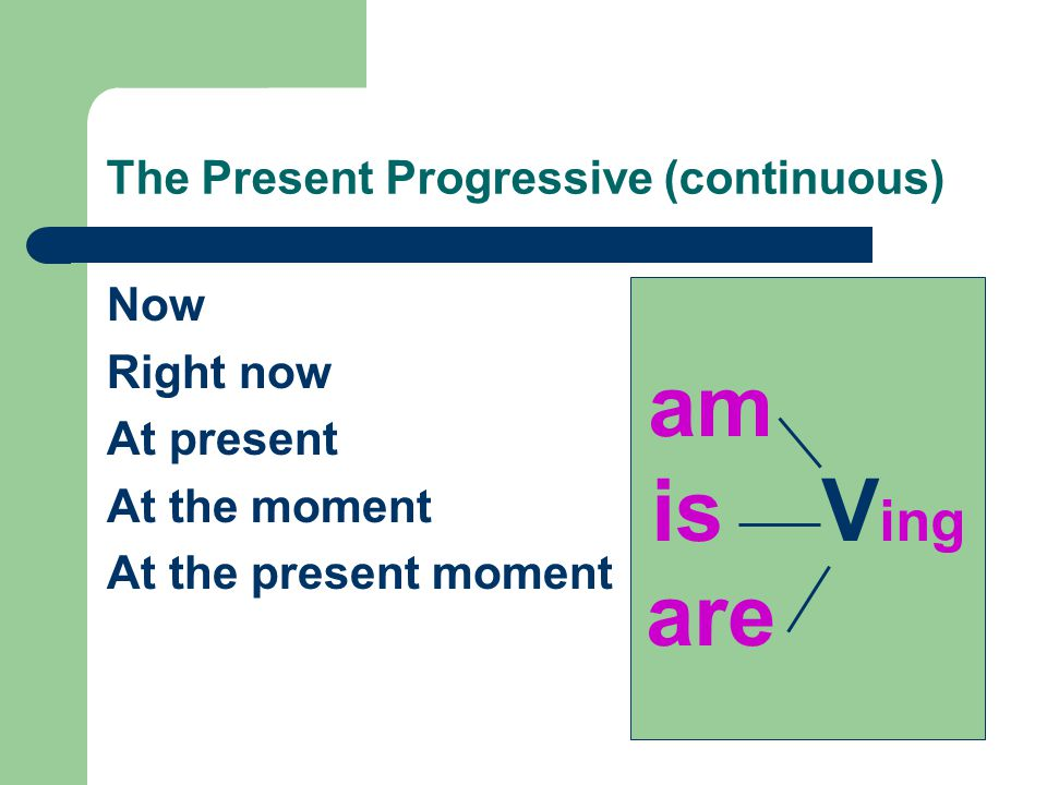 The Present Progressive (continuous) Now Right now At present At the moment At the present moment am is V ing are