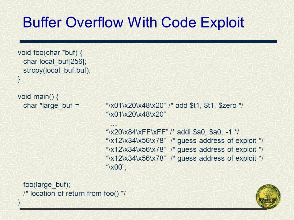 Buffer Overflow With Code Exploit void foo(char *buf) { char local_buf[256]; strcpy(local_buf,buf); } void main() { char *large_buf = \x01\x20\x48\x20 /* add $t1, $t1, $zero */ \x01\x20\x48\x20 … \x20\x84\xFF\xFF /* addi $a0, $a0, -1 */ \x12\x34\x56\x78 /* guess address of exploit */ \x00 ; foo(large_buf); /* location of return from foo() */ }