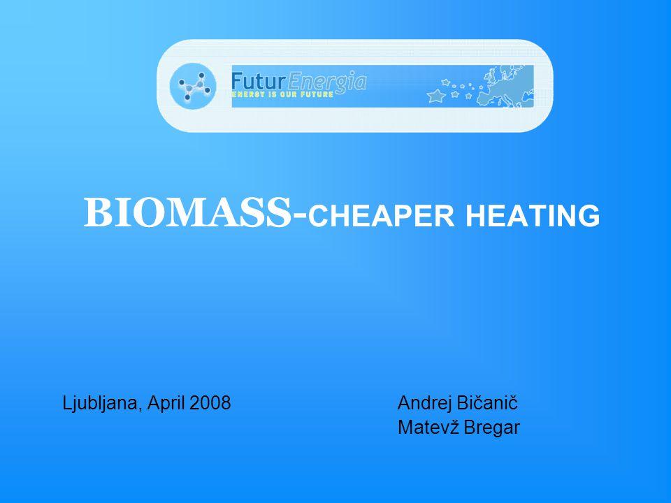Ljubljana, April 2008Andrej Bičanič Matevž Bregar BIOMASS- CHEAPER HEATING