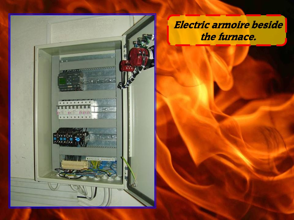 Electric armoire beside the furnace.