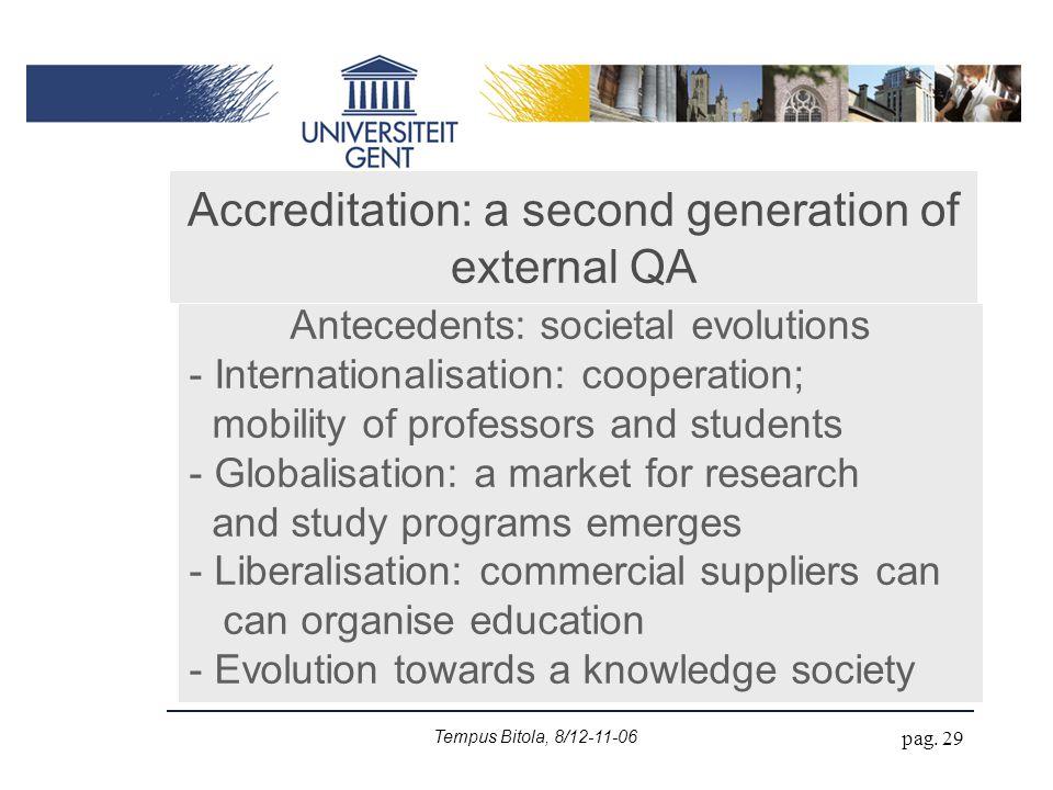 Tempus Bitola, 8/12-11-06 pag. 29 Accreditation: a second generation of external QA Antecedents: societal evolutions - Internationalisation: cooperati