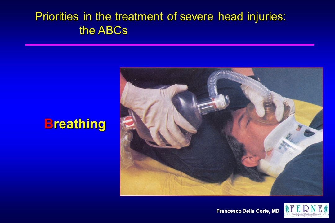 Breathing Priorities in the treatment of severe head injuries: the ABCs Francesco Della Corte, MD
