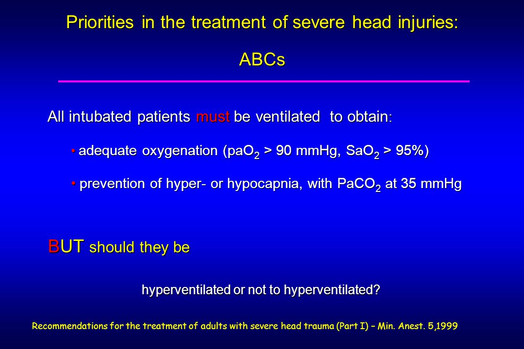 Priorities in the treatment of severe head injuries: ABCs BUT should they be BUT should they be hyperventilated or not to hyperventilated.