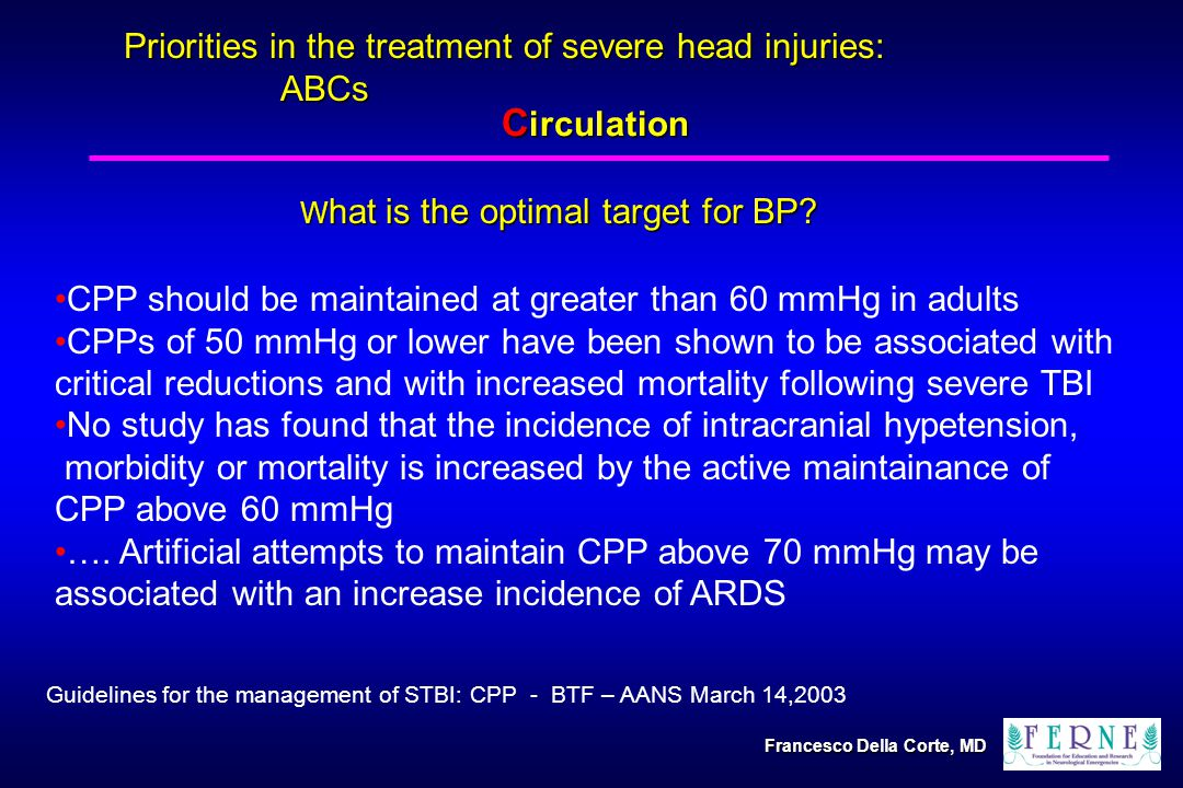 Priorities in the treatment of severe head injuries: ABCs CPP should be maintained at greater than 60 mmHg in adults CPPs of 50 mmHg or lower have been shown to be associated with critical reductions and with increased mortality following severe TBI No study has found that the incidence of intracranial hypetension, morbidity or mortality is increased by the active maintainance of CPP above 60 mmHg ….
