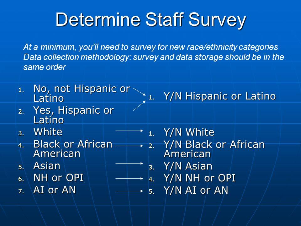 Determine Staff Survey 1.No, not Hispanic or Latino 2.