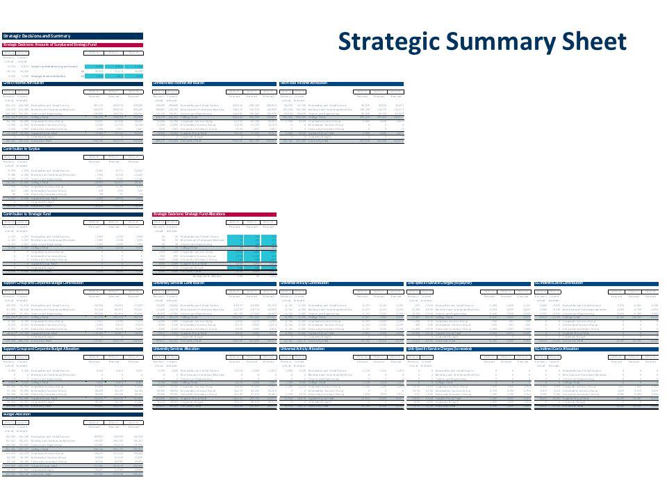 Strategic Summary Sheet