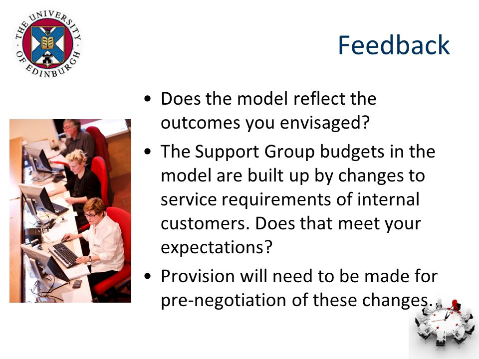 Feedback Does the model reflect the outcomes you envisaged.
