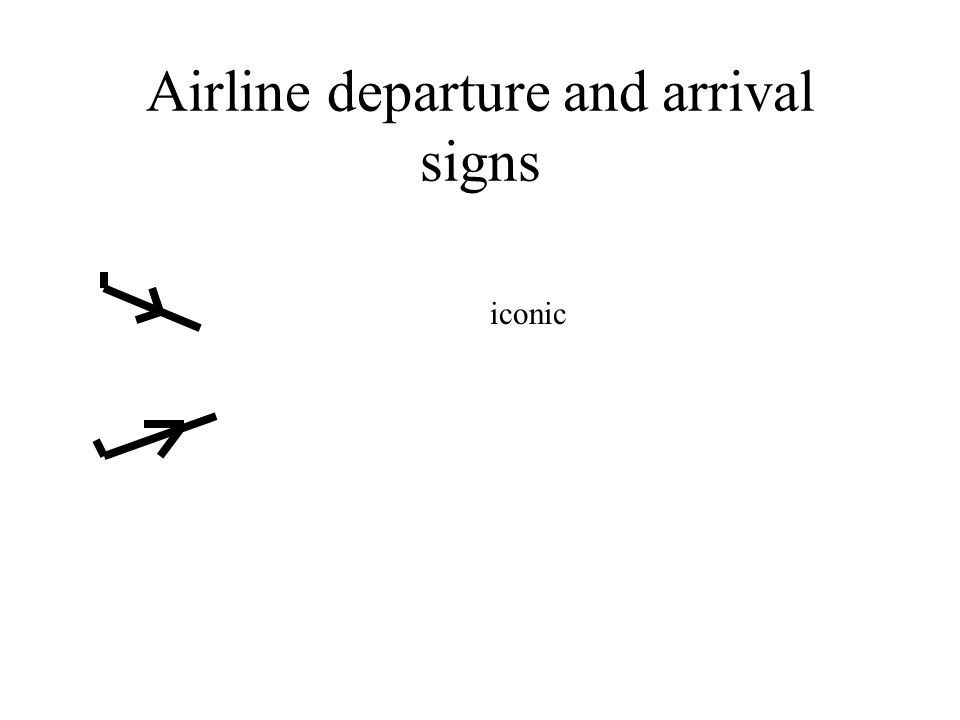 Airline departure and arrival signs iconic