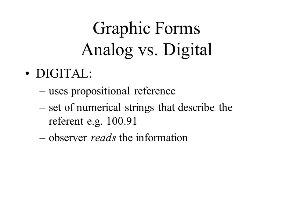 Graphic Forms Analog vs.
