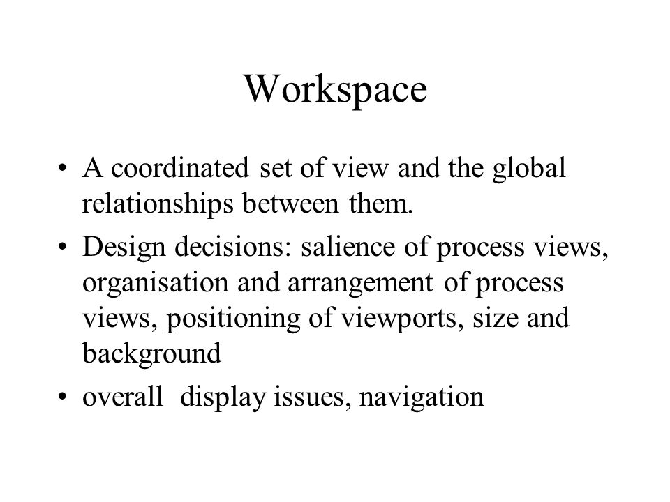 Workspace A coordinated set of view and the global relationships between them.