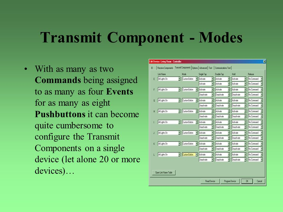 Transmit Component - Modes With as many as two Commands being assigned to as many as four Events for as many as eight Pushbuttons it can become quite
