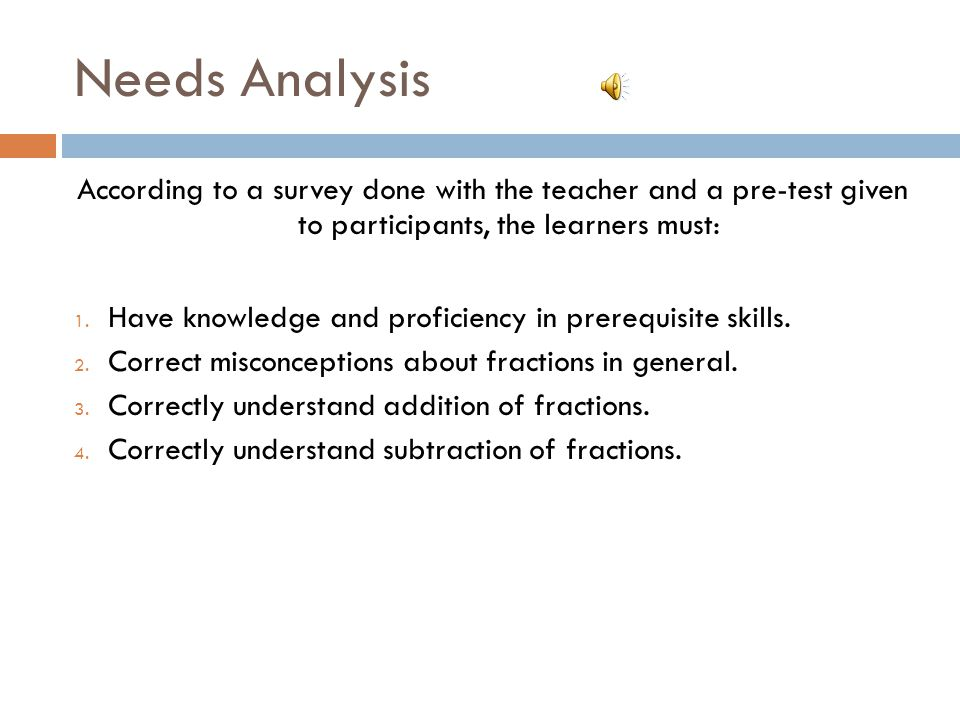 Needs Analysis According to a survey done with the teacher and a pre-test given to participants, the learners must: 1.