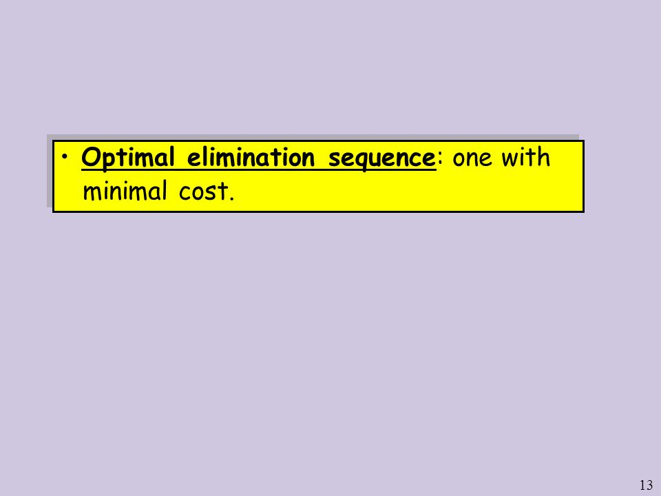 13 Optimal elimination sequence: one with minimal cost.