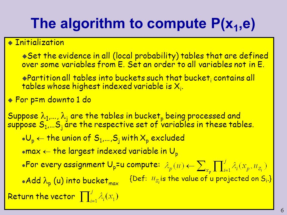 6 The algorithm to compute P(x 1,e) u Initialization u Set the evidence in all (local probability) tables that are defined over some variables from E.