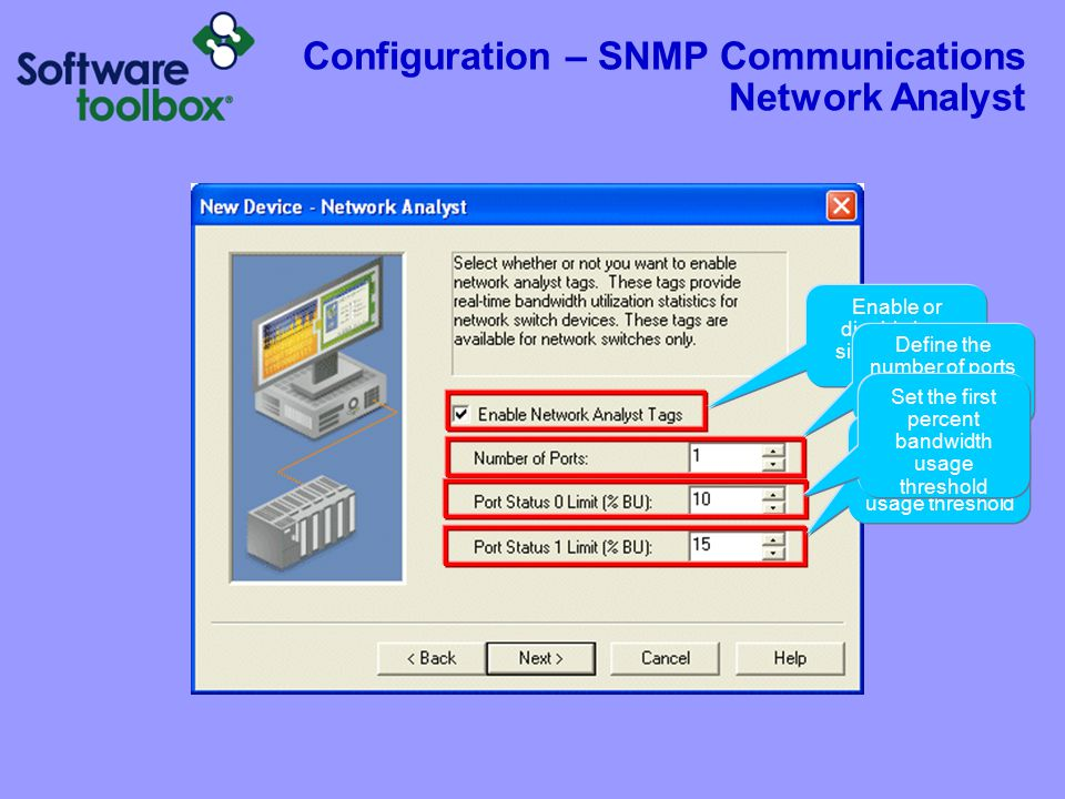 Configuration – SNMP Communications Network Analyst Enable or disable by a simple check box.
