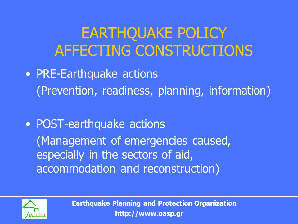 Earthquake Planning and Protection Organization http://www.oasp.gr Inspection and signposting on buildings