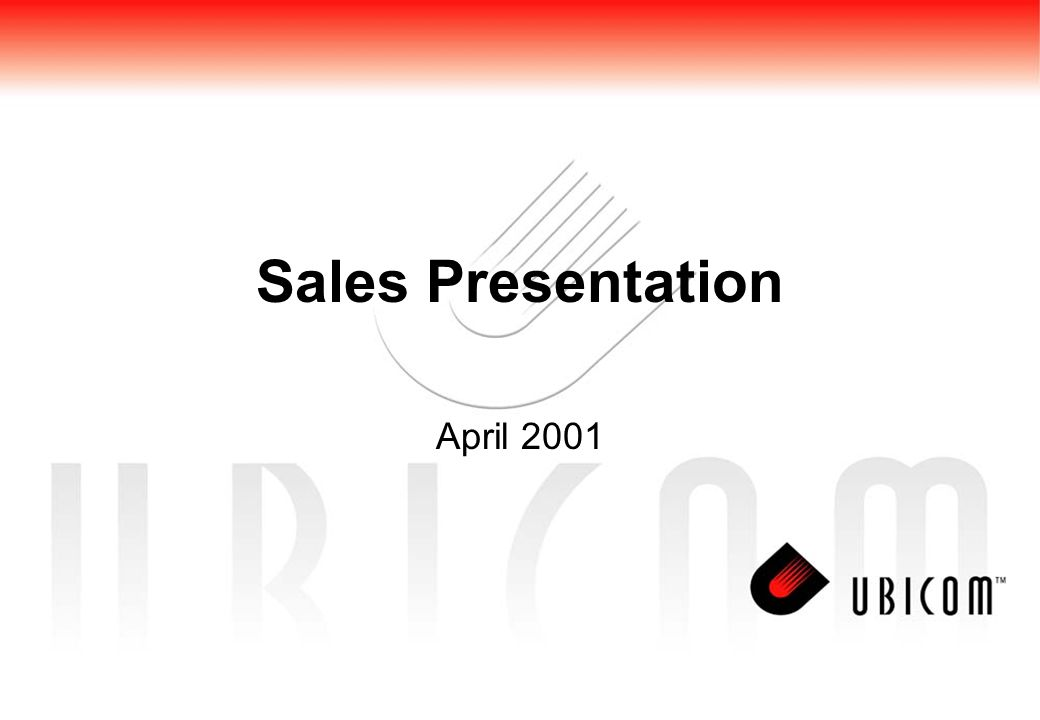 Sales Presentation April 2001