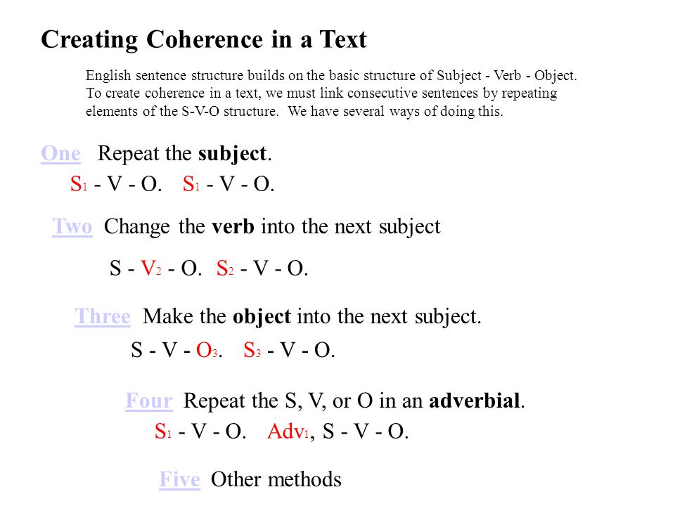 S 1 - V - O.Repeat the subject. S 1 - V - O.S 1a - V - O.
