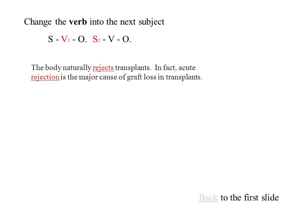 S 2 - V - O.S - V - O 1.Make the object into the next subject.