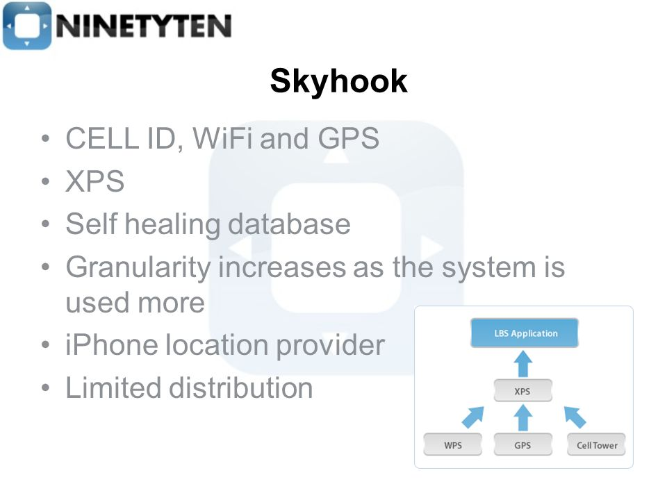 Skyhook CELL ID, WiFi and GPS XPS Self healing database Granularity increases as the system is used more iPhone location provider Limited distribution