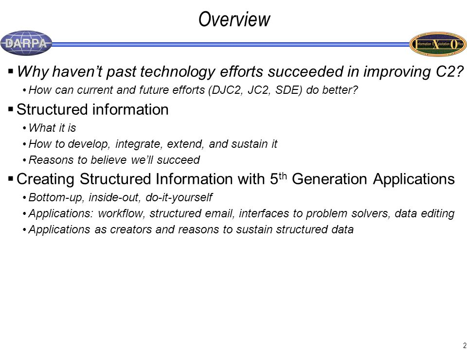 2 Overview  Why haven't past technology efforts succeeded in improving C2.