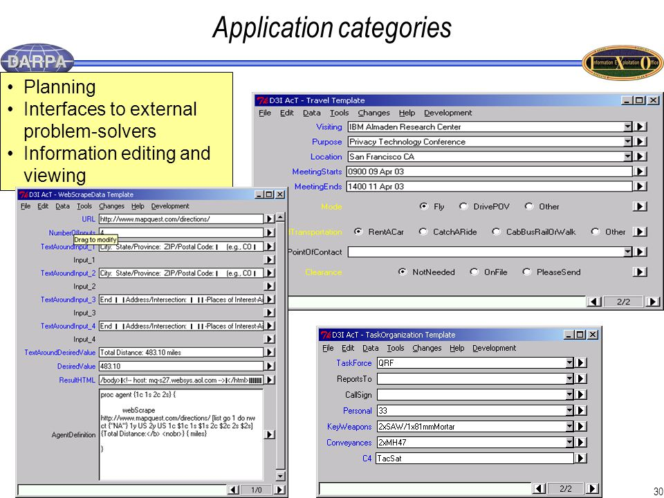 30 Application categories Planning Interfaces to external problem-solvers Information editing and viewing