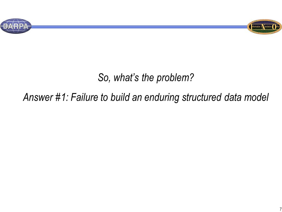 7 So, what's the problem Answer #1: Failure to build an enduring structured data model