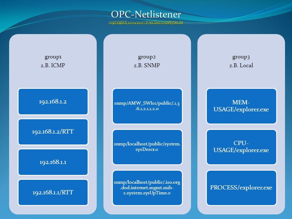 group1 z.B. ICMP 192.168.1.2192.168.1.2/RTT192.168.1.1192.168.1.1/RTT group2 z.B.