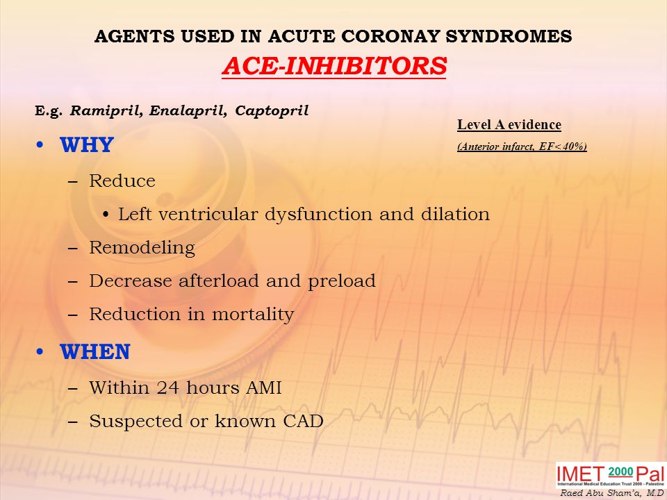 Raed Abu Sham'a, M.D AGENTS USED IN ACUTE CORONAY SYNDROMES ACE-INHIBITORS E.g.