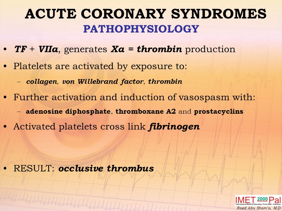 Raed Abu Sham'a, M.D ACUTE CORONARY SYNDROMES PATHOPHYSIOLOGY TF + VIIa, generates Xa = thrombin production Platelets are activated by exposure to: – collagen, von Willebrand factor, thrombin Further activation and induction of vasospasm with: – adenosine diphosphate, thromboxane A2 and prostacyclins Activated platelets cross link fibrinogen RESULT: occlusive thrombus